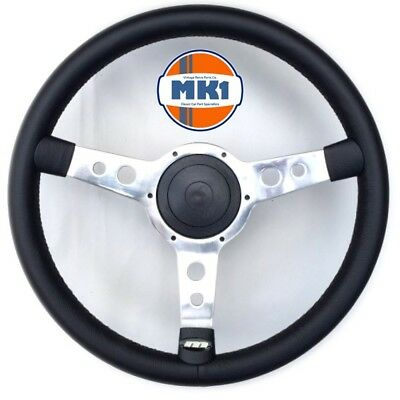 "Mk1 Classic Car Parts Retro Classic 15"" Polished Leather Dished Steering Wheel"