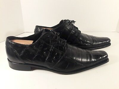 Mauri Made in Italy Alligator/Black Leather Oxford Wing-Tip Shoes Men's Size 13
