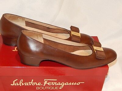 Salvatore Ferragamo Vintage Leather Womens Brown Shoes Size 9AAA