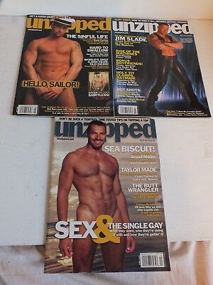 Vintage Lot of 3 New UNZIPPED gay interest magazines March, April, and May 2004