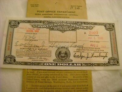 Series 1939 Postal Savings System Note Station A Dayton Oh. Issued 1940.
