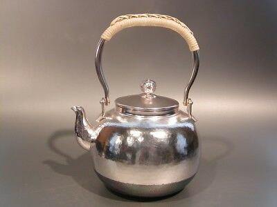 Japanese Antique KANJI old silver bottle Tea Kettle teapot Chagama 024