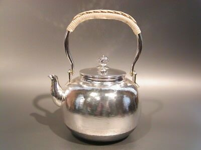 Japanese Antique KANJI old silver bottle Tea Kettle teapot Chagama 025