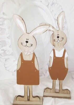Rabbit Pair Wood Patina Deco Easter Shabby Vintage Country House 16 7/8in