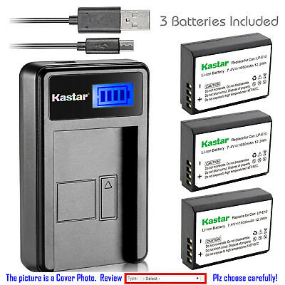Kastar Battery LCD Charger for Canon LP-E10 LC-E10 & Canon EOS Rebel T5 Camera