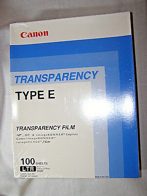 "Canon Transparency Film 100 Sheets Type E 8.5"" X 11""sealed"