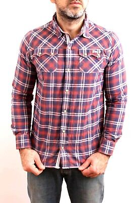 Levis VTG Casual Checked Tartan Shirt Red Stretch Long Sleeved 16 Years Mens S