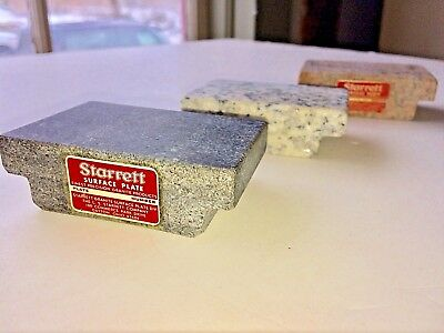 "3 pc  Lot Starrett Tools Granite Surface Plate Salesman Samples 3""x2"" RARE"