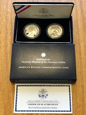2001 Buffalo Commemorative 2 Silver Dollars * Key Smithsonian American Indian