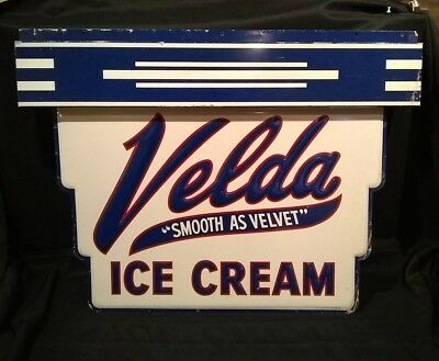 Rare Vintage VELDA  Ice Cream Embossed Tin Advertising Sign Art Deco Look Old