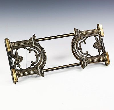 Vintage cast bronze or brass Book Rack holder Figural Slider expandable Bookends