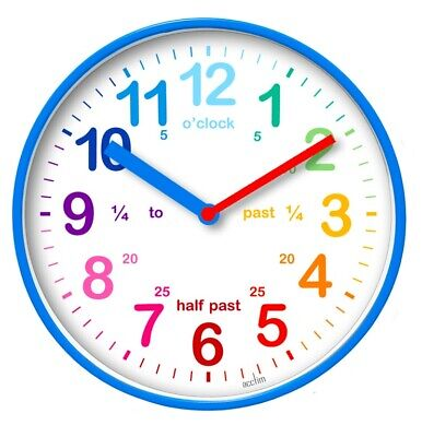 Acctim Wickford Kids Children Time Teaching Wall Clock - 20cm - Blue