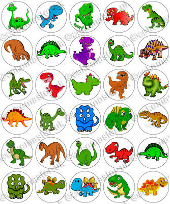 30 x Dinosaurs Clipart Fun Party Edible Rice Wafer Paper Cupcake Toppers