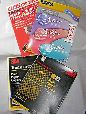 MIXED LOT of Transparency film; Apollo,3M,Office Depot