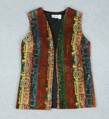 Open Front Vest S M Carpetbag Vintage Dimensional Colorful Lined A. Kallins