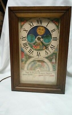 "Vintage  Mechtronics Clock ""time To Plant Burpee Seeds - 1975 Wood Case 15"" Usa"