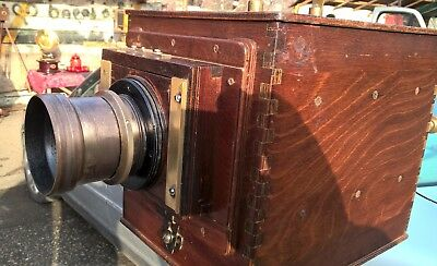 Very old  antique 13x18 wooden camera