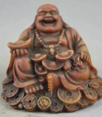 Collectable Decor Old Shoushan Stone Carve Exorcism Buddha Bring Wealthy Statue