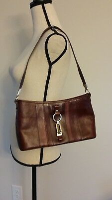 Etienne Aigner VINTAGE Leather Shoulder Bag Burgundy Medium