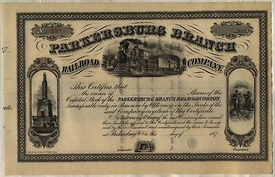Parkersburg Branch Railroad Company Stock Certificate West Virginia