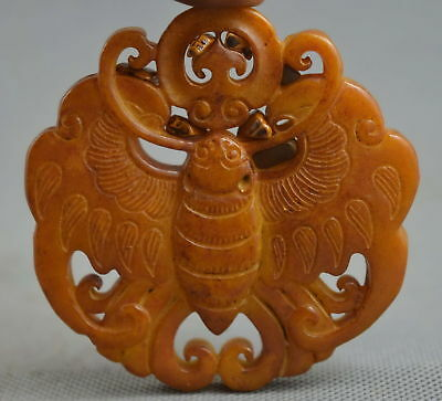 Collectable Handwork Decorative Jade Carve Butterfly Bring lucky Special Pendant