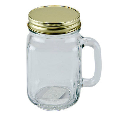 Set of 6 Drinking Mason Jar 16 oz with Handle LID Included Libbey Glass 97084