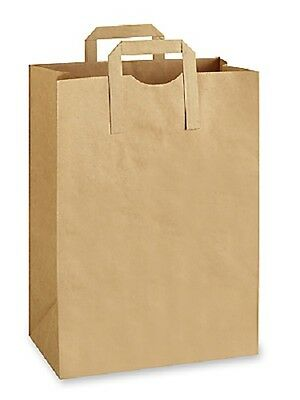 100 count Retail / Grocery Bag Pain KRAFT 12x7x17 with Paper Handles