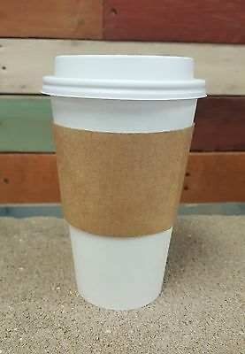 Pack of 100 Paper Coffee / Hot Cup 16 oz w/ White Cappuccino Lids and Sleeves