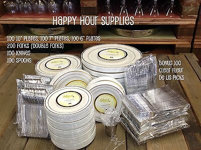 700-pc Party Pack-Premium Plastic WHITE w/Silver China Plates and Silver Cutlery