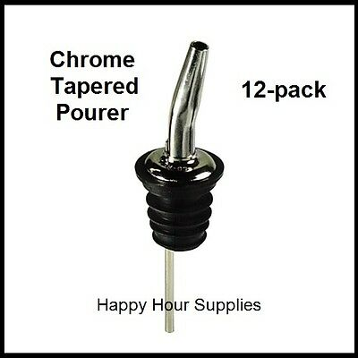 12-pack Chrome Metal Tapered Pourer / Liquor Bottle Pour Spout