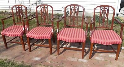 Set 4 HICKORY CHAIR CO. Mount Vernon Federal Mahogany Dining Arm Chairs
