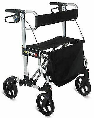 Elegant Aluminium Lightweight Folding Rollator Four Wheel Walking Aid Mobility