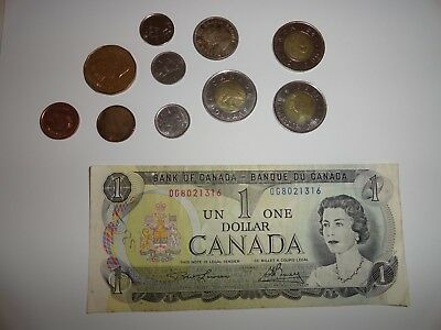 Canadian One Dollar Note 1973 Plus Canadian Coins One Silver 1960 3 Two Dollar