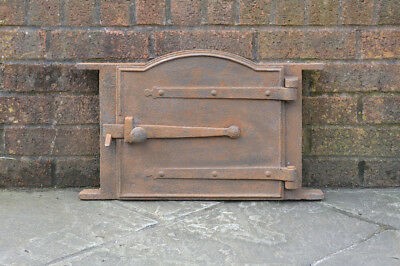 52 x 32.5 cm old cast iron fire bread oven door/doors /flue/clay/range/pizza