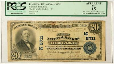1902 $20 PB NBN 1st Nat'l Bank of Rib Lake WI CH#6711 PCGS 15 VERY RARE NOTE