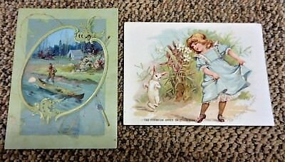 2 1890's LION COFFEE Trade Cards - Canoeing Camping Fishing &  An Easter Minuet