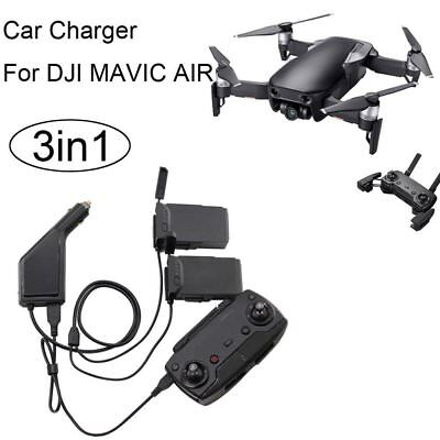 3 in 1 DJI Mavic Air Car Charger Adapter for 2 Battery + 1 Remote Controller UK