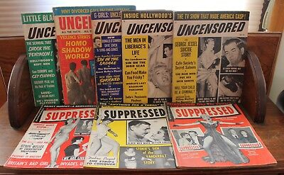 Lot of 8 Vintage 1950's Magazines Uncensored & Suppressed