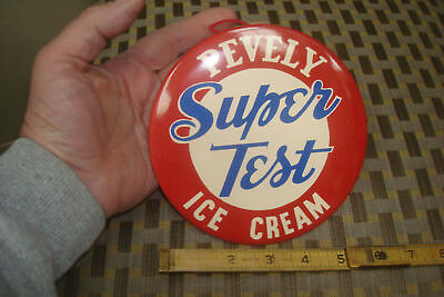 "Vintage Pevely Super Test Ice Cream 6"" Celluloid Tin Over Card Board Sign 1950's"