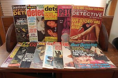 Lot of 13 Vintage 1970's Risque Detective Magazines