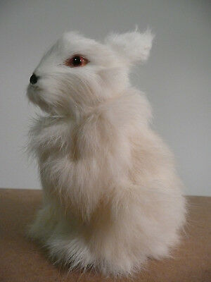 """Lifelike Baby Easter Rabbit Bunny Figure Handmade With Real Fur Approx 5"""" T"""