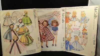 Vintage McCall's Doll Clothes Patterns #s 2150, 2336, 2397 Set of 3