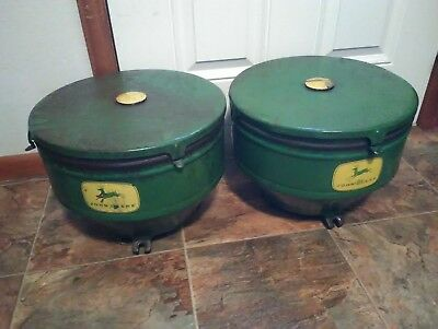 2 John Deere  planter seed hopper with lid and seed level plate.s in good shape