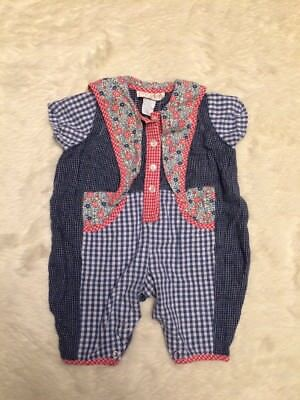 Baby Beluga New Born Outfit Floral Gingham Print Girls 6/9 Months Vintage