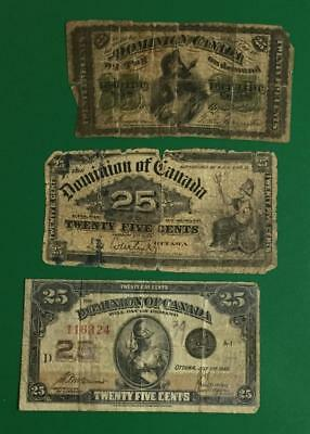"1870 1900 & 1923 Dominion of Canada ""TWENTY FIVE CENTS"" Fractionals Set of 3!"