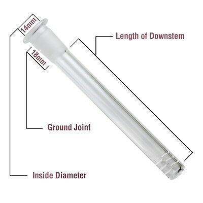 "6 Cuts Scientific Glass Downstem Diffuser 14MM To 18MM 2"" To 6"" Length Available"