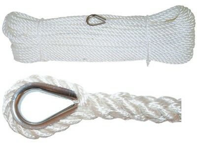 Anchor Marine Rope Boat Mooring Line Stainless Steel Thimble 8mm x 50 Metres