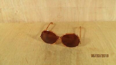 Vintage Mid Century Modern Faux Tortoise Shell Sunglasses w Brown Tinted Lenses