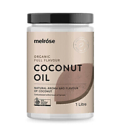 Melrose Organic Full Flavour Coconut Oil 1L | Unrefined Coconut Oil