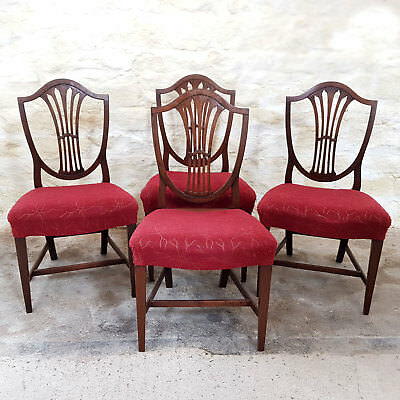 Hepplewhite Style Set of 4 Mahogany Dining Chairs C1870 (Victorian Antique)